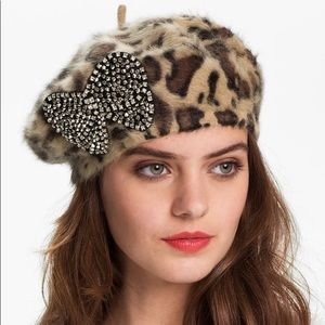 Betsey Johnson Leopard Print Bow Beret Hat